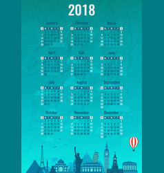 calendar for 2018 with famous wolrd landmarks vector image vector image