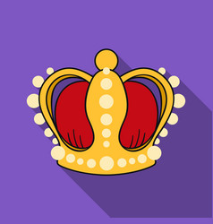 crown icon in flat style isolated on white vector image vector image