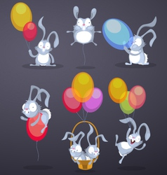 Funny rabbits with balloons vector image vector image
