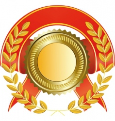 gold medal and laurel wreath vector image vector image