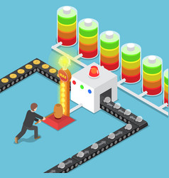 isometric businessmen use power to create good vector image vector image