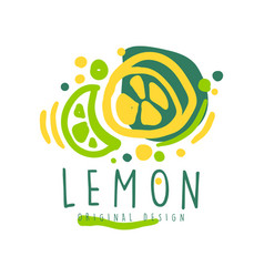 lemon original design logo natural healthy vector image