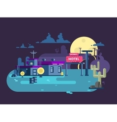 Motel night flat design vector image vector image