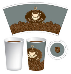 template paper cup for hot drink with coffee cup vector image vector image