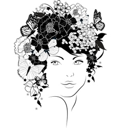 The beautiful girl with flowers in hair vector image