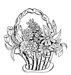 Basket with flowers vector image vector image