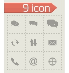 black communication icon set vector image vector image