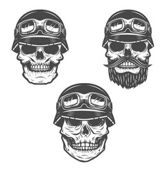 Set of racer skulls isolated on white background vector