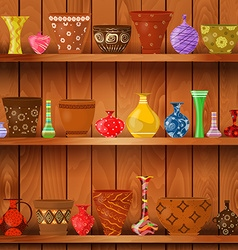 vases and art flower pots on wooden shelves for vector image vector image