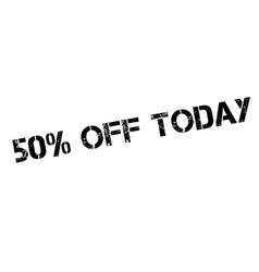 50 percent off today rubber stamp vector