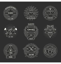 Blacksmith and forging logo or emblem vintage vector image