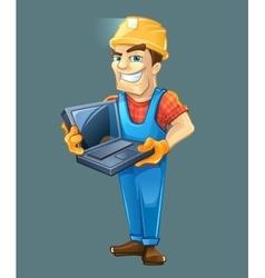 Builder with laptop helmet Isolated on dark vector image