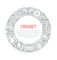 cricket banner with line icons of ball bat field vector image vector image