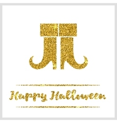 Halloween gold textured boots icon vector