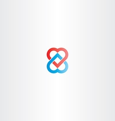 heart chain logo icon vector image