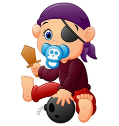 Pirate kid holding a wooden sword vector image vector image