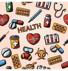 Seamless health handdrawn pattern with - vector image