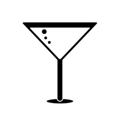silhouette glass cocktail martini with olive vector image vector image