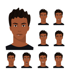 african-american man with different emotions vector image vector image