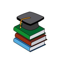 back to school book graduation cap vector image vector image
