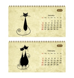 Calendar 2014 with black cats on grunge paper vector image