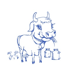 isolated funny sketch cow for milk product vector image vector image
