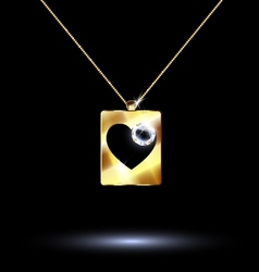 pendant card suit hearts vector image vector image