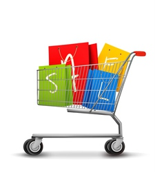 Shopping bags with sale in shopping cart Concept vector image vector image