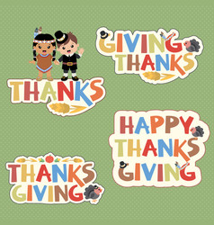 thanksgiving typography design elements vector image vector image