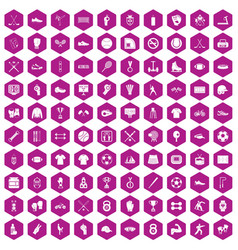 100 athlete icons hexagon violet vector