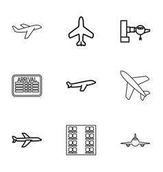 9 airline icons vector image