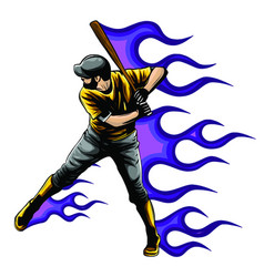 a american baseball player batting vector image
