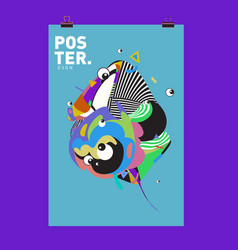 Abstract colorful cartoon character cover vector