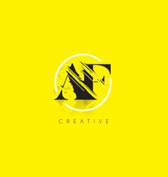 Af letter logo with vintage grundge drawing vector
