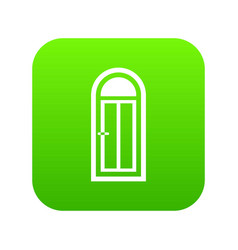 Arched wooden door with glass icon digital green vector