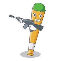 Army baseball bat character cartoon vector