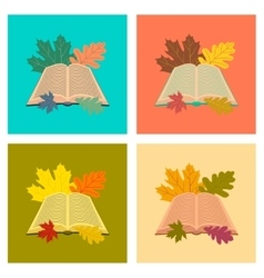 assembly flat icons open book leaves vector image