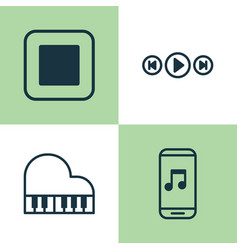 Audio icons set collection of octave audio vector