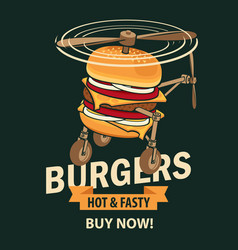 banner with burger in retro style vector image