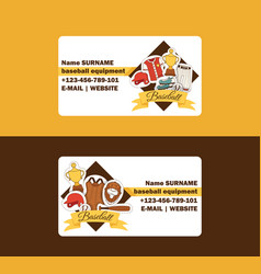 baseball business card catchers sportswear vector image