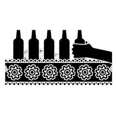 black bottles of beers in the factory icon image vector image