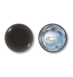 black pin button front and back side vector image