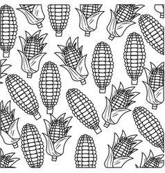 Black silhouette with pattern of corncobs vector