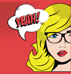 Blonde girl glasses bubble speech pop art comic vector