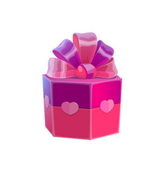 Box with gift decorated hearts vector