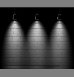 Brick wall background with three light spot vector