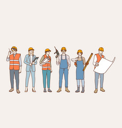 builders and construction industry concept vector image