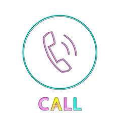 call round linear button with receiver symbol vector image