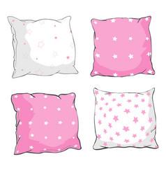 Cartoon decorative pillows hand drawn set of vector