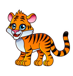 cartoon tiger isolated vector image vector image